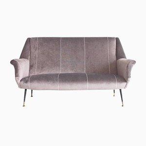 Modernes Italienisches Sofa aus Samt mit Schwarzen Messingfüßen, 1950er