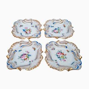 Antike Old Paris Handbemalte Servierteller, 4er Set