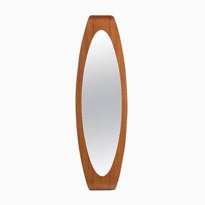 Espejo italiano oval de contrachapado de Campo & Graffi para Home, años 60
