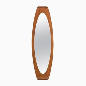 Italian Oval Plywood Mirror by Campo & Graffi for Home, 1960s