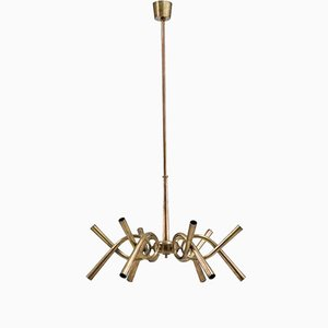 Italian Brass Chandelier with Twelve-Light Arms, 1940s