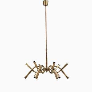 Lámpara de araña italiana de latón con 12 brazos, años 40