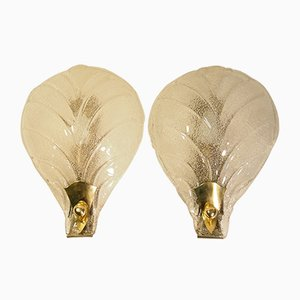 Mid-Century Wall Sconce with Textured Murano Leaves by Ercole Barovier, Set of 2