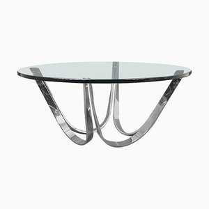 Vintage Chrome and Glass Coffee Table by Roger Sprunger for Dunbar Furniture