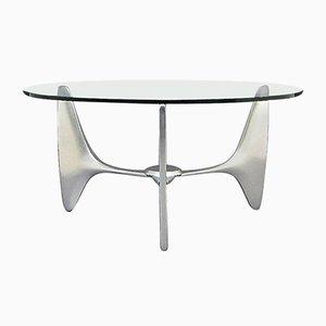 Mesa de centro vintage con trípode y estructura de aluminio
