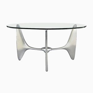 Vintage Coffee Table with Tripod Aluminum Frame