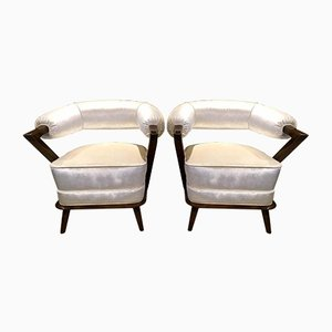 White Italian Tub Armchairs, 1960s, Set of 2