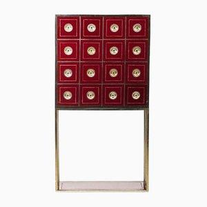 Mueble vintage en borgoña con 16 cajones