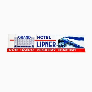 Funktionalistisches Emailliertes Schild The Lipner Grand Hotel, 1930er