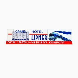 Letrero funcionalista esmaltado de The Lipner Grand Hotel, años 30