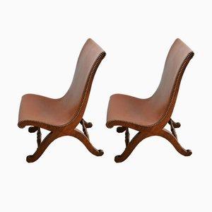 Cognac Slipper Chairs by Pierre Lottier for Valenti, Set of 2