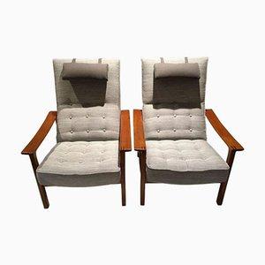 Scandinavian Modern Reclining Back Armchairs, Set of 2
