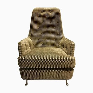 Button-Tufted Armchair with Metal Legs, 1950s