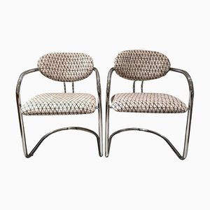 Vintage Italian Tubular Steel Chairs, Set of 2