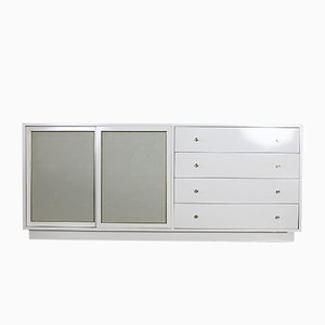Mid-Century White Lacquer Brass and Faux Shagreen Dresser by Harvey Probber, 1960s