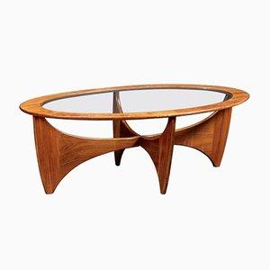 Mesa de centro ovalada de teca con superficie de vidrio de G-Plan, años 60