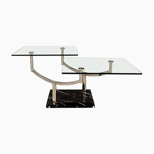 Two-Tiered Glass Coffee Table with a Chrome Frame & Stone Base