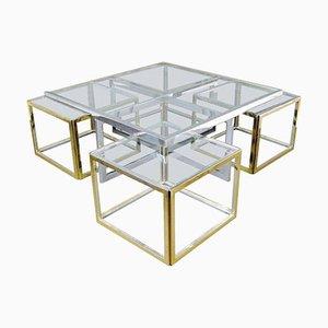 Mesa de centro vintage grande de vidrio y latón