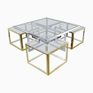 Vintage Large Glass and Metal Coffee Table