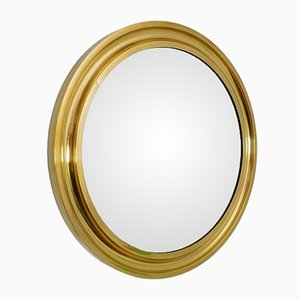 Regency Italian Brass Circular Wall Mirror, 1970s