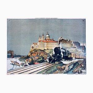 Cartel abstracto de Donautal y Melk de Josef Danilowatz para Jugend und Volk, 1924
