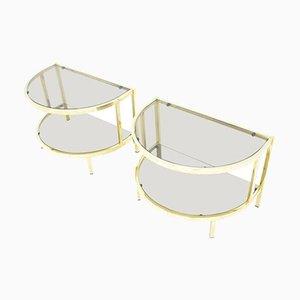 Mesas de noche vintage de vidrio y latón, años 70. Juego de 2