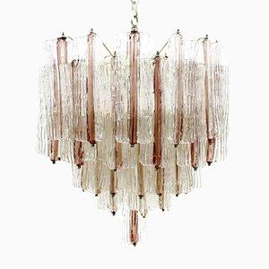 Lámpara de araña grande de cristal de Murano en rosa y blanco de Toni Zuccheri para Venini