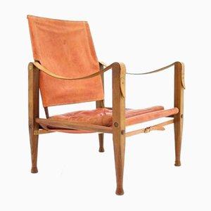Hellroter Leder Safari Chair von Kaare Klint für Rud Rasmussen