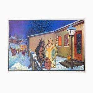 Póster de Krampus y el Santo Nikolaus de Quirin Haslinger, 1964