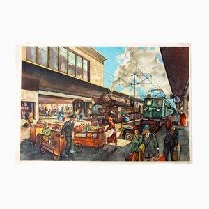 Bahnhof Wandtafel von Rudolf Dirr Hoffmanndruck, 1956