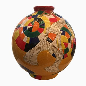 Large Vase Vintage Forme Sphère en Email par Danillo Curreti