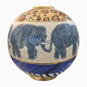 Vintage Large Enameled Spherical Vase with Elephants by Danillo Curreti