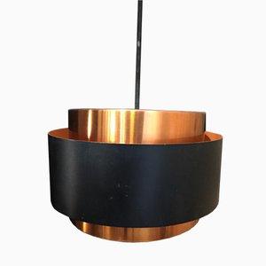 Lámpara colgante vintage en negro y cobre de Jo Hammerborg, 1960
