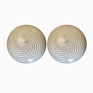 Apliques de pared vintage con espiral de Carlo Nason. Juego de 2