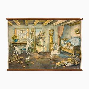 Affiche Murale d'Ecole le Loup et les Sept Enfants par E. Schütz, 1929