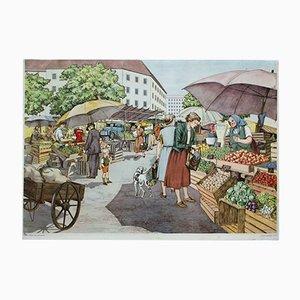Cartellone educativo raffigurante un mercato di A. Hoffmann per Erwin Metten, 1954