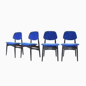 Chaises Vintage Bleues, Italie, Set de 4