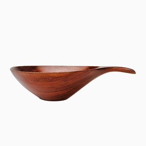 Large Handmade Bowl in African Rosewood by Emil Milan, 1970s