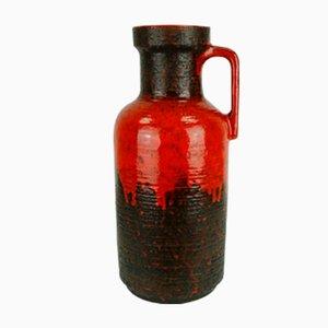 Große Vintage Vase mit Roter Tropfenglasur von Carstens