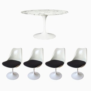 Vintage Tulip Dining Table with Marble Top & 4 Swivel Chairs by Eero Saarinen for Knoll International
