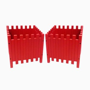 Red Planters by Ettore Sottsass for Poltronova, Set of 2