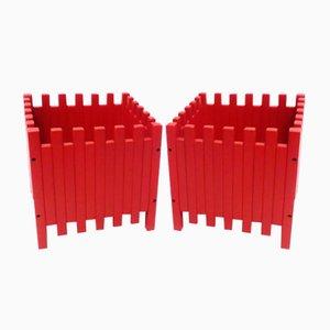 Rote Übertöpfe von Ettore Sottsass für Poltronova, 2er Set