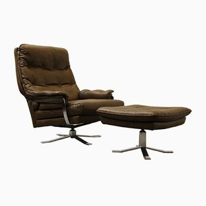 Retro Buffalo Leather Armchair and Footstool by Arne Norell for Vatne
