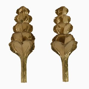 Golden Brass Sconces by Maison Romeo, 1970s, Set of 2