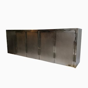 Chrome & Brushed Steel Credenza from Belgochrom, 1985