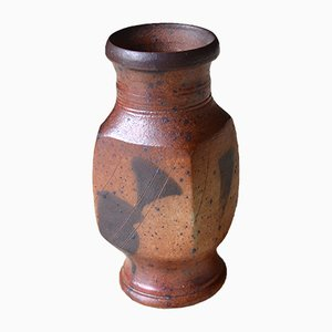 Braune Vintage Sandstein Vase von Gustave Tiffoche