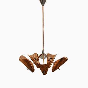 Lámpara de araña Mid-Century de cobre de Drupol, años 60