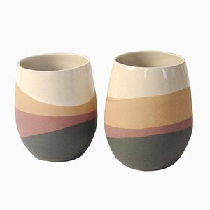 Matte Burgundy, Ochre, & Dark Grey Skala Mugs by Anbo Design, Set of 2