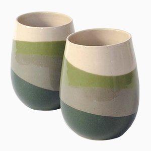 Skala Becher mit Grüner & Grauer Glasur von Anbo Design, 2er Set