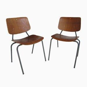 Industrielle Vintage Teak Esszimmerstühle von Kho Liang Ie für Car, 2er Set